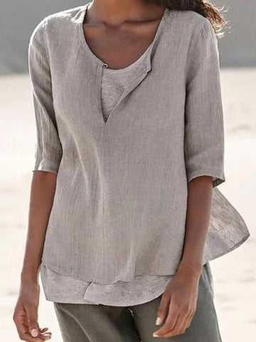 A Stylish Round Collar Short-Sleeved Blouse