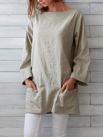 Summer Fashion Long Pocket Cotton And Linen Blouse