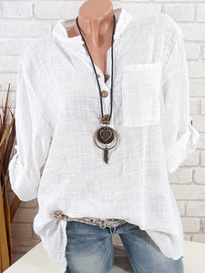 Band Collar  Single Breasted  Plain Blouses