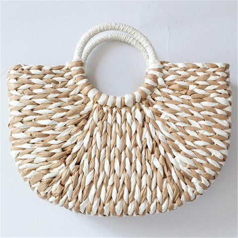 Summer Mixed Color Straw Weaving Tote Bags