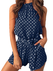Round Neck  Dot  Sleeveless  Playsuits