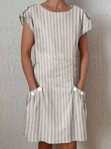 Fashion Round Neck Women's Dress Daily Pocket Striped Mini Dress