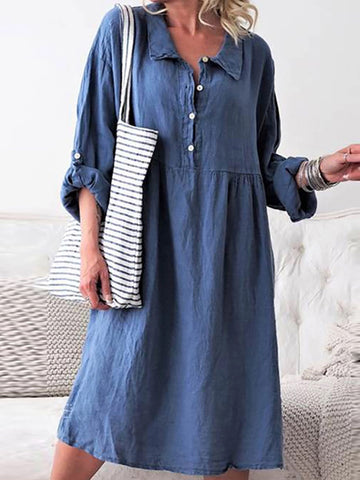A Casual Long-Sleeved Shirt Casual Midi Dress