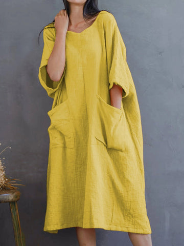 Summer Loose Cotton And Linen Pocket Casual Plus Size Midi Dress