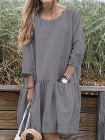 Cotton And Linen Loose Solid Color Round Neck Plus Size Mini Dress