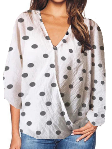 V Neck  Loose Fitting Patchwork  Dot Blouses