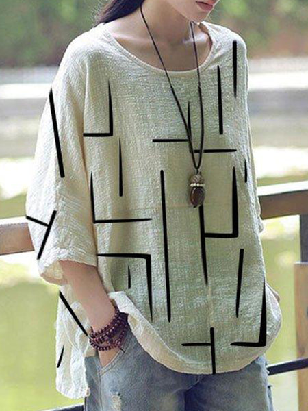 Round Neck  Loose Fitting  Printed Linen Blouses