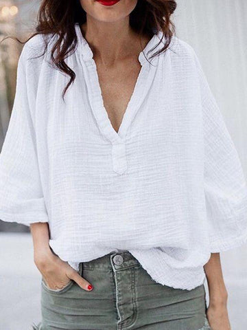 V Neck  Loose Fitting  Plain Linen Blouses