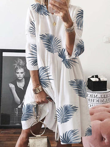Women's Loose Casual Leaf Print Crew Neck Plus Size Mini Dress