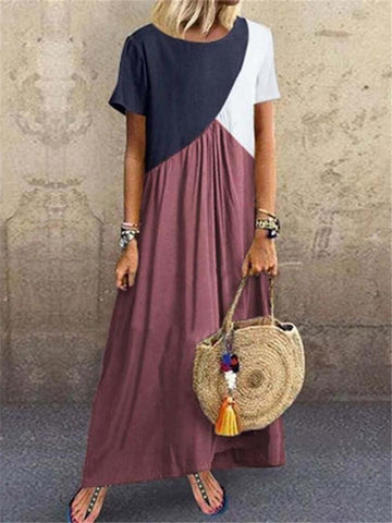 Women's Stitching Color Short-Sleeved Maxi Dress