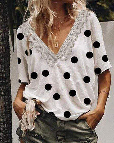 Casual V-Neck Short-Sleeved Polka Dot T-Shirt