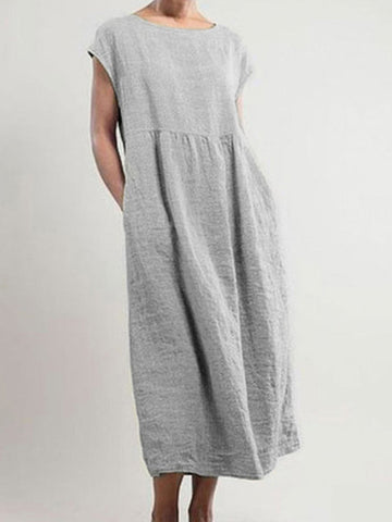 Casual Solid Sleeveless Loose Cotton And Linen Plus Size Midi Dress