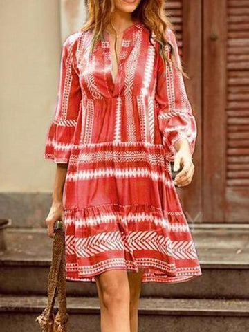 V-Neck Stitching Stripe Printed Bohemian Mini Dress