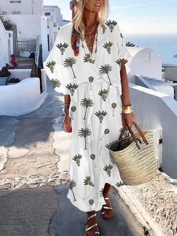 Bohemian Printed Colour Batwing Sleeve V Neck Belted Maxi Dress