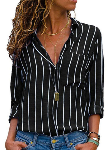 Autumn Spring Cotton Blend Women Striped Long Sleeve Blouses
