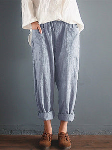 Spring Stripe Loose Wide-Leg Harem Pants