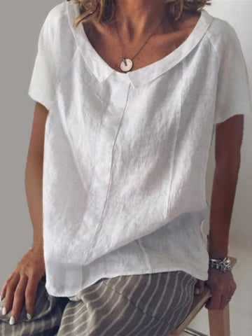 Collar Round Neck Short Sleeve Cotton And Linen Pullover T-Shirt