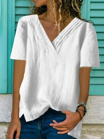 Fashion V-Neck Irregular Loose Solid Color T-Shirts