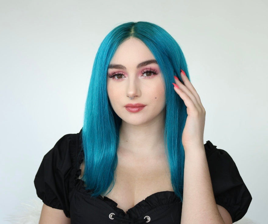 Load image into Gallery viewer, Aquamarine human hair lace front wig 14""
