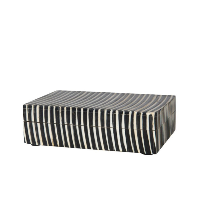 Black and White Ribbed Bone Box