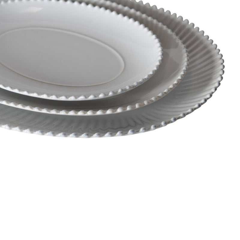 Greenwich Pearl White Oval Platter - Small