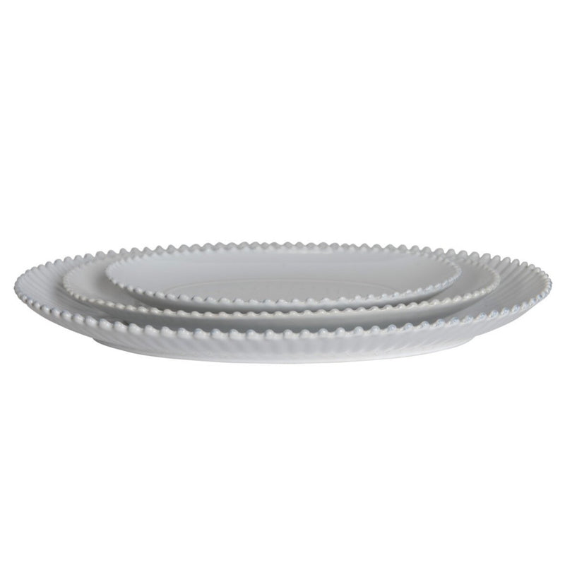 Greenwich Pearl White Oval Platter - Medium