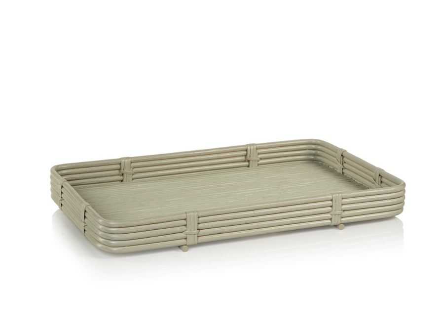 Avalon Rattan Serving Tray-Gray