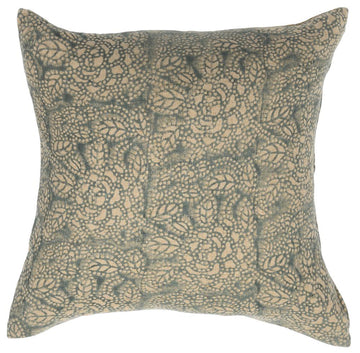 Sicily Teal on Natural Pillow