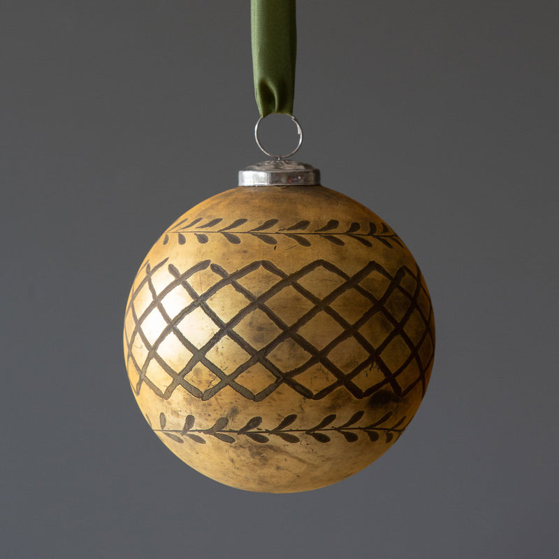 Mercury Glass Etched Ornament