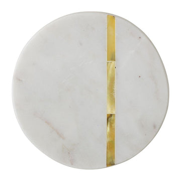 Round Marble Coasters with Gold Finish Metal Inlay