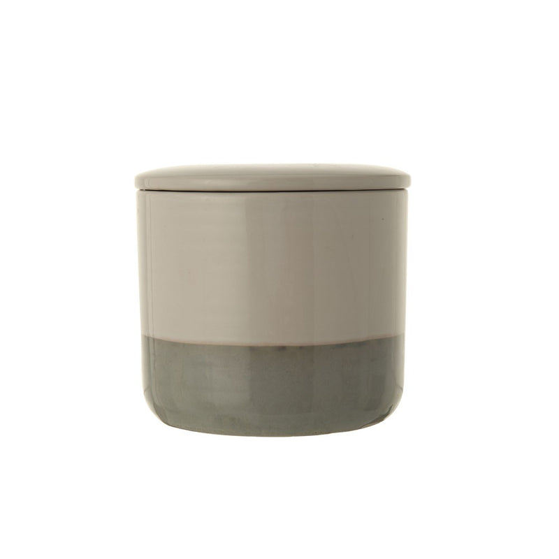 White and Grey Stoneware Canister