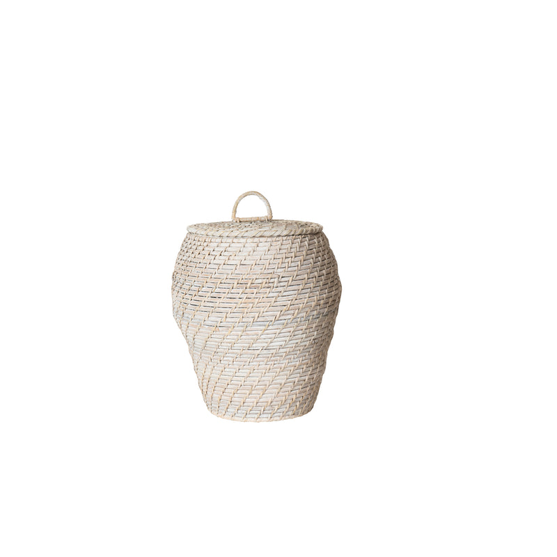 Whitewashed Rattan Basket with Lid