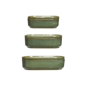 Green Stoneware Container with Lid