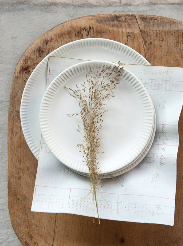 Stoneware Plate with Crimped Edge