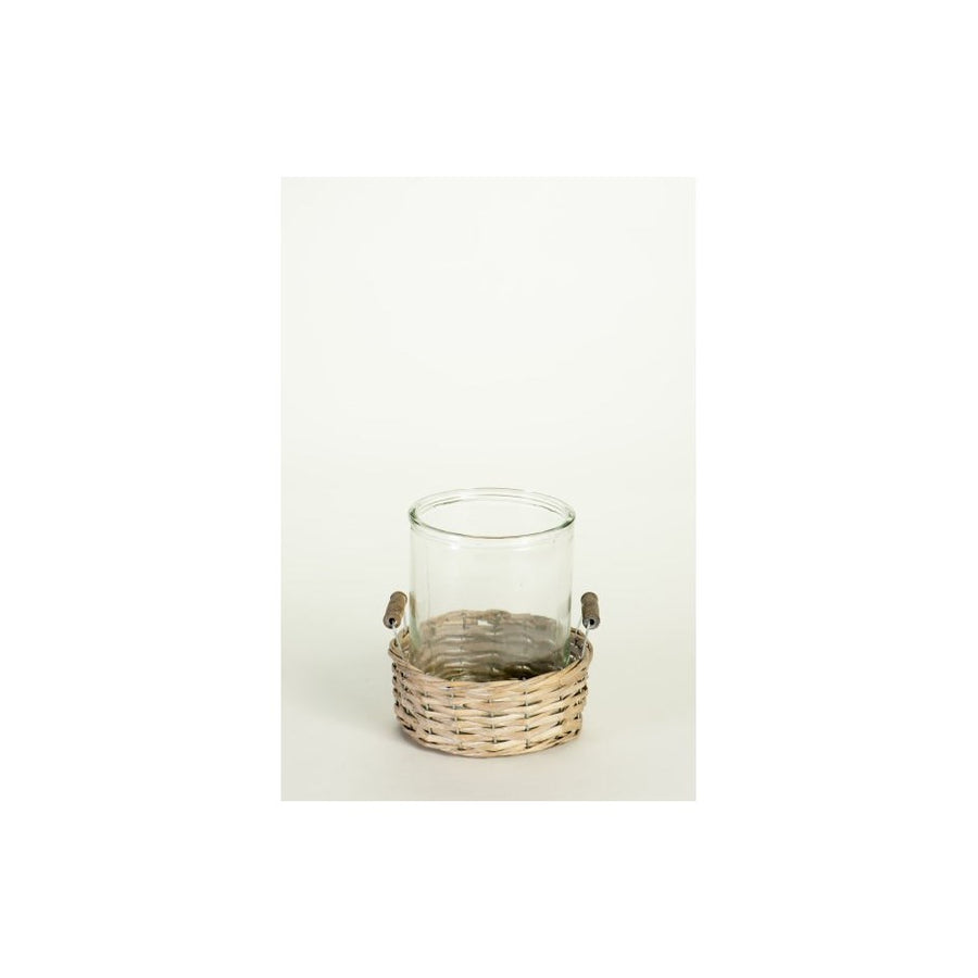 Glass Votive with Rattan Case