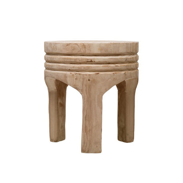 Hand-Carved Wood Stool