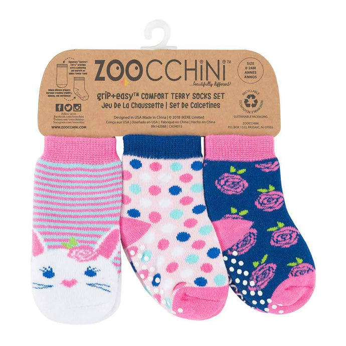Zoocchini Baby Comfort Grip Socks (Set of 3) 0-24 months