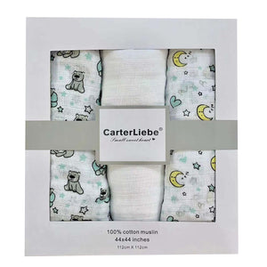 Carter Liebe 3pcs. Cotton Muslin Swaddle Blankets
