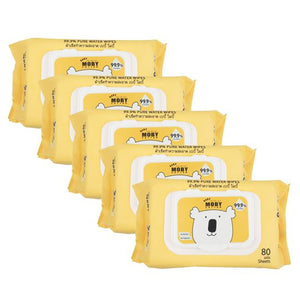 Baby Moby Pure Water Wipes with case 80's (Bundle of 5)