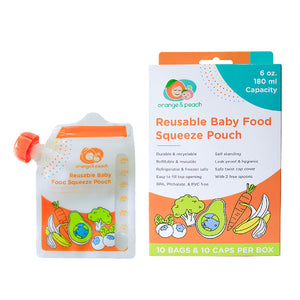 Orange & Peach Reusable Baby Food Squeeze Pouch