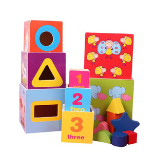Wooden - Nesting Stacking and Shapes Sorting Blocks