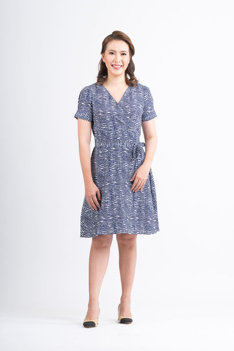 Mome - Freda Dress Printed Blue Design