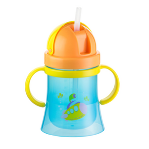 Kidsme Training Cup Submarine Series - Non Spill w/ Handle - Blue/Orange