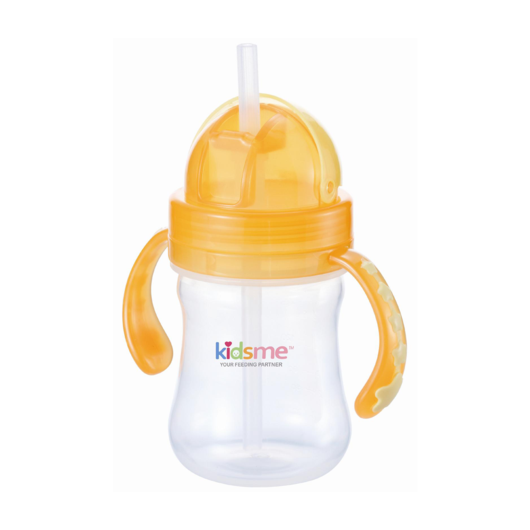 Kidsme Straw Training Cup 180ml - Clear/Orange