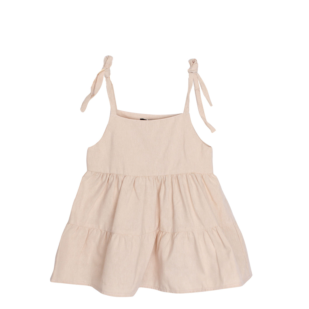 Adorable Girls Kids Sleeveless Spaghetti Tie Up Style