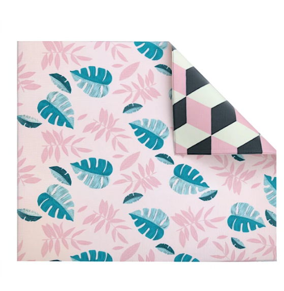 Play with Pieces - Pink Leaf/Geo Play Mat