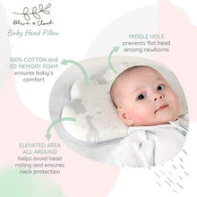 Load image into Gallery viewer, Olive and Clouds Baby Head Shaping Pillow (With Extra Pillow Case)