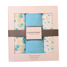 Load image into Gallery viewer, Carter Liebe 3pcs. Cotton Muslin Swaddle Blankets