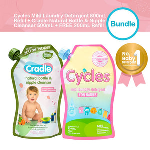 Cycles Mild Laundry Detergent 800ml + Cradle Natural Bottle & Nipple Cleanser 700ml Refill Bundle