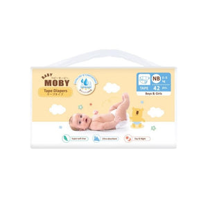 Baby Moby Chlorine Free Tape Diapers (New Born Size 0-5kgs) - 42 pcs